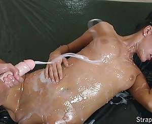 Requested: Oiled strapon play