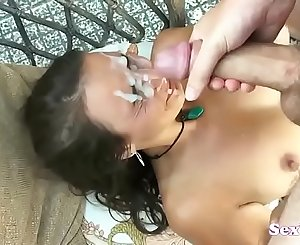 Gorgeous lady gets many facials (new)