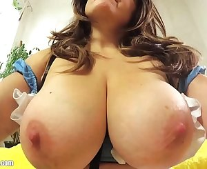 Britney's DIY Sextape: Real Solo Orgasm (without the silly screaming). Sexy nylon stockings, deep cleavage, big tits busty MILF masturbating, cock sucking and she swallows cum!