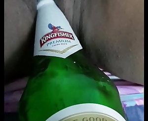 Fisting my desi wife beaver with beer bottle