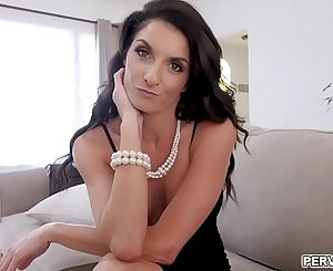 Slutty cougar Silvia Sage just came from a date and her wild stepson ask her to fuck her mature wet cunt.