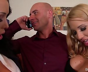 Busty Brunettes Patty Michova & Kyra Hot Fuck Their Boss' Face and Dick
